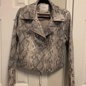 Snakeskin faux leather jacket